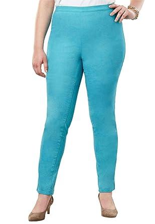 2757b43e989 Jessica London Women s Plus Size Straight Leg Stretch Denim Jeggings -  Dusty Aqua