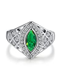 LeoBon Retro Jewelry Luxury Party Anniversary Rings for Women Green Emerald White CZ Diamond 18K White Gold Plated Ring