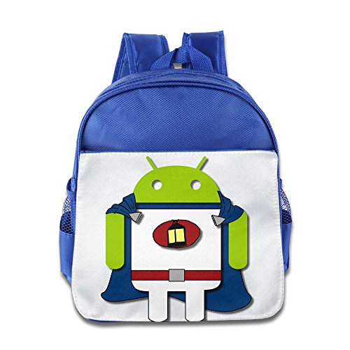Price comparison product image XJBD Custom Personalized Super Android Robot Boys And Girls School Backpack For 1-6 Years Old RoyalBlue