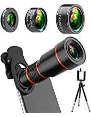 Youbegou 4K HD Phone Camera Lens Kit 10 in 1 for iPhone Samsung Android, 20X Telephoto Lens,0.5X Super Wide Angle Lens&25X Macro Lens, 205° Fisheye Lens, Work as Telescope with Metal Tripod