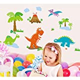 Dinosaur Coconut Trees Grasses Wall Decal PVC Home Sticker House Vinyl Paper Decoration WallPaper Living Room Bedroom Kitchen Art Picture DIY Murals Girls Boys kids Nursery Baby Playroom Decor