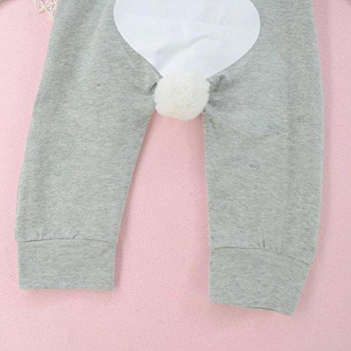Baby Overall mit Kapuze Mädchen Jungen Kaninchen 3D Ohr Warme Strampler Jumpsuit Overall Kleidung von Longra Gray