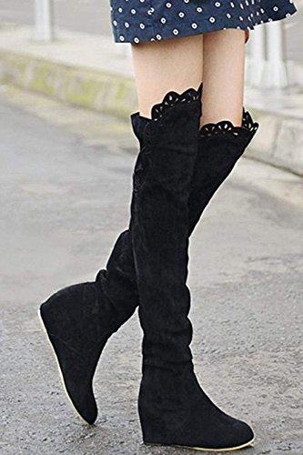 SODIAL (R)Mode Frauen Spitze Schenkel ueber Knie Stretch Schuhe Stiefel hoher Absatz Schwarz 38