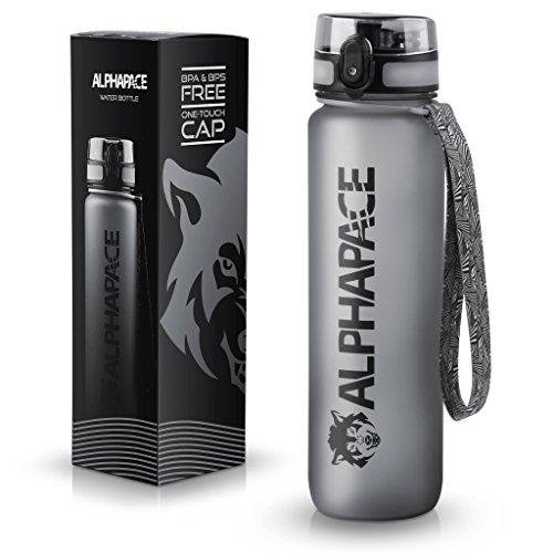 ALPHAPACE Sport Trinkflasche 1000ml - LFGB zertifiziert, BPA frei und auslaufsicher - Premium Sportflasche aus Tritan - ideal für Sport, Schule, Reisen, Outdoor und Freizeit - 100% Zufriedenheitsversprechen