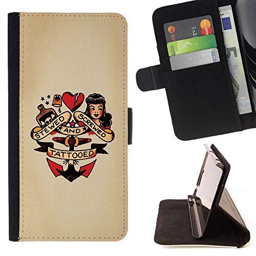 Flip Credit Card Slots PU Holster Leather Wallet Pouch Protective Skin Case Cover Samsung Galaxy Note 5 5th N9200 , ( Pin Up Heart Doll Anchor Woman Tattoo (Pin Up Dolls Tattoos)