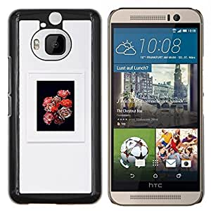 YiPhone /// Prima de resorte delgada de la cubierta del caso de Shell Armor - flores pétalo ramo marco gris negro - HTC One M9Plus M9+ M9 Plus