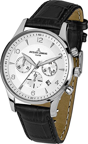 Jacques Lemans London 1-1654B 40mm Stainless Steel Case Leather Mineral Men's Watch