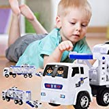 Fiaya Kids Large Double Deck Trailer With Four Mini Police Cars Transport Big Truck Carrier Toys