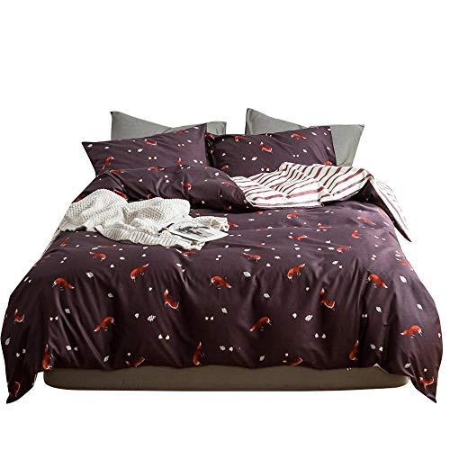 (XUKEJU Unisex Pure Cotton Animal Print Duvet Cover with 2 Shams Zipper Closure Fox Bedding Set 3 PCS King Size)