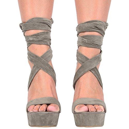 CORE COLLECTION New Womens Ladies Platform Block HIGH Heel Ankle Strap Party Sandals Shoes 3-8 Khaki Suede sXV8J