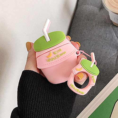 UR Sunshine AirPods Case, Super Cute Creative Drink Yogurt Bottle Shape Soft Silicone Case Cover Protective Skin for AirPods+Ring Lanyard-Pink Banana (Pink Monster Lanyard)