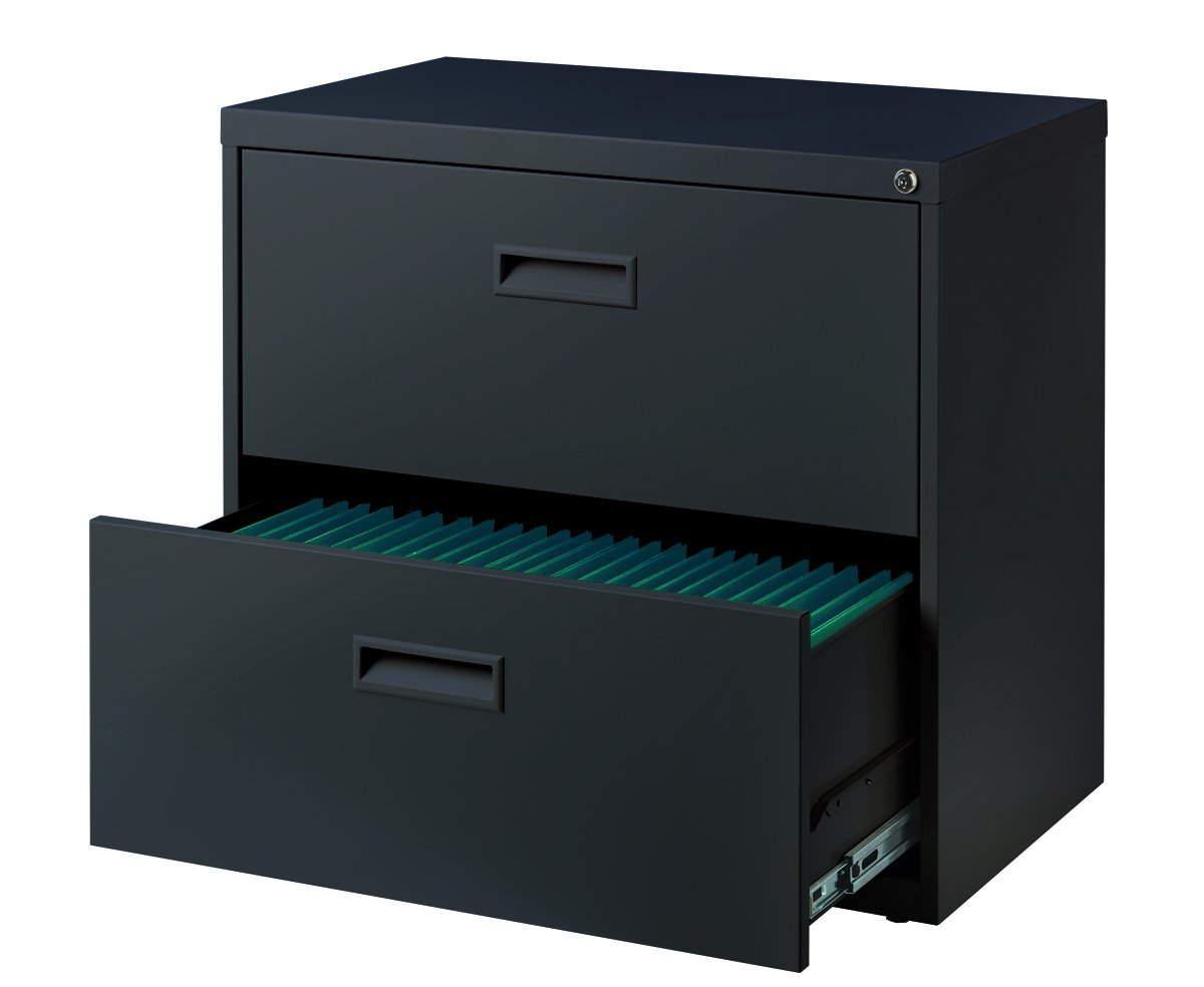 Space Solutions 2-Drawer Steel Lateral File Cabinet, 30'' Wide, Home Office Storage - Charcoal Gray