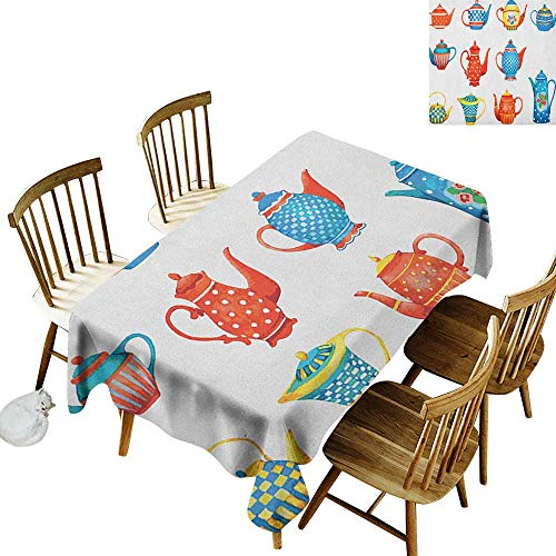 kangkaishi 3D Printed Long Tablecloth Desktop Protection pad Colorful Teapots Various Shapes Sizes Breakfast Ceramic Cute Design W60 x L84 Inch Blue Vermilion Yellow