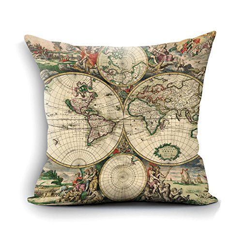 Pillow Cases Decorative 18x18 - Vintage World Map Cotton Throw Pillow Case Cushion Cover Standard Size Square - Present for Dad,Mom,Aunt,Uncle,Daughter,Sister,Brother,Wife,Husband or Friend