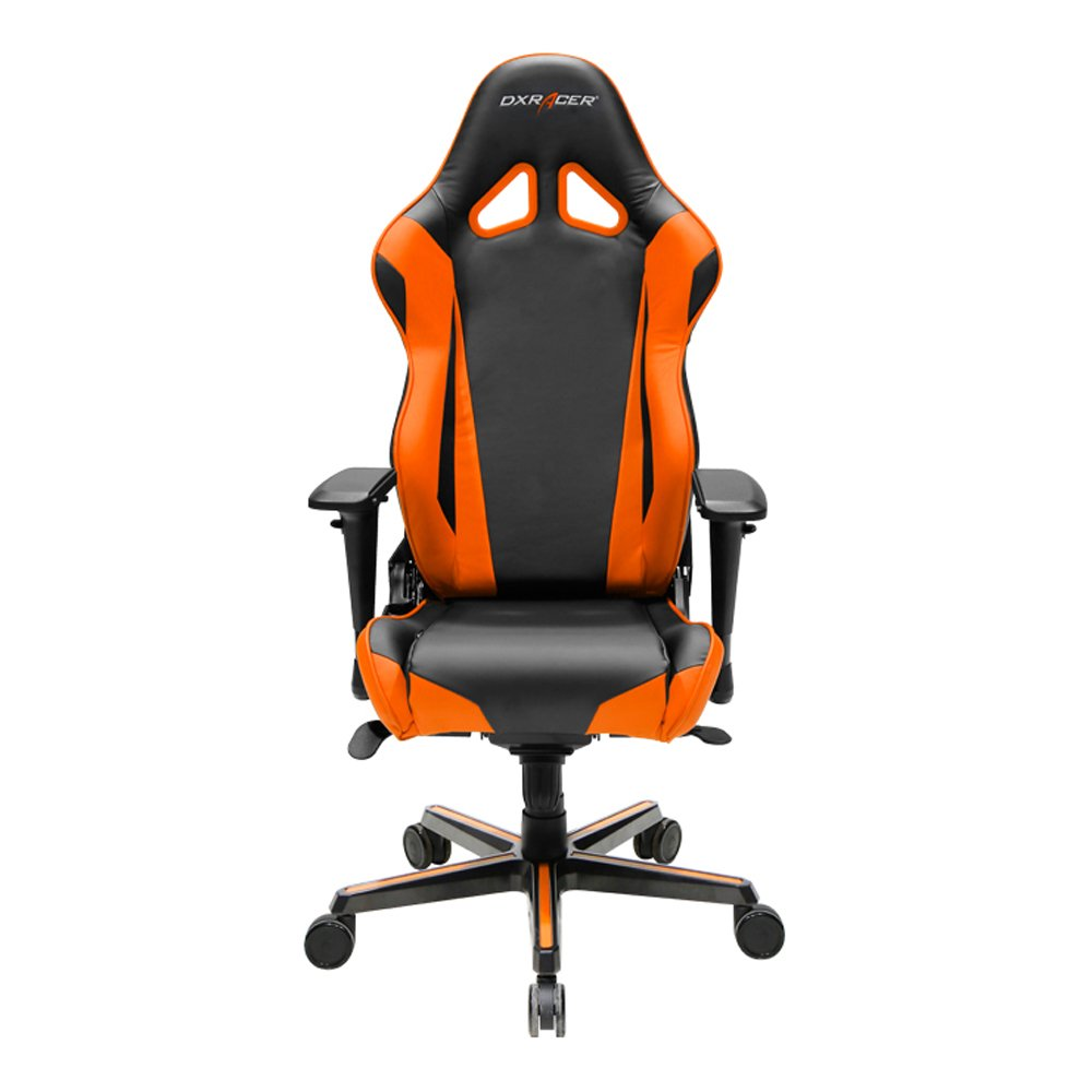 DXRacer Racing Series DOH/RV001/NO Office Chair Gaming Chair Carbon Look Vinyle Ergonomic Computer Chair eSports Desk Chair Executive Chair Furniture with Free Cushions (Black/Orange)