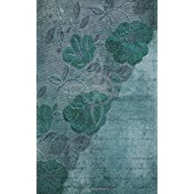 Grimoire Wicca Book of Shadows Journal - Castings and Rituals: Aged Teal Cover with a Witches Knot, Lace Patterned Flowers, Leaves and Ephemera. Back has an Aberration of a Fairy and Crescent Moon.
