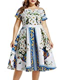 Lalagen Womens Vintage 1950s Flare Rockabilly Plus Size Cocktail Prom Dress White Blue XXL