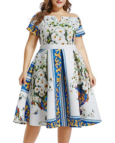 Lalagen Womens Vintage 1950s Flare Rockabilly Plus Size Cocktail Prom Dress White Blue XXXL from Lalagen