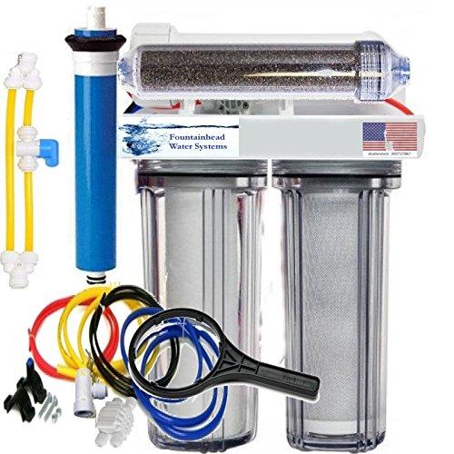 (RO/DI Reverse Osmosis Aquarium/Reef System 4 Stage Clear Manual Flush Valve 150 GPD)