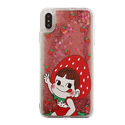 Transparent Hard Plastic Liquid Glitter Flowing Red Strawberry Milky Case for Apple iPhone XR iPhoneXR 6.1 Soft Frames Clear Water Floating Glittery Sparkling Shiny Bling Crystal Stylish - Milky Crystal