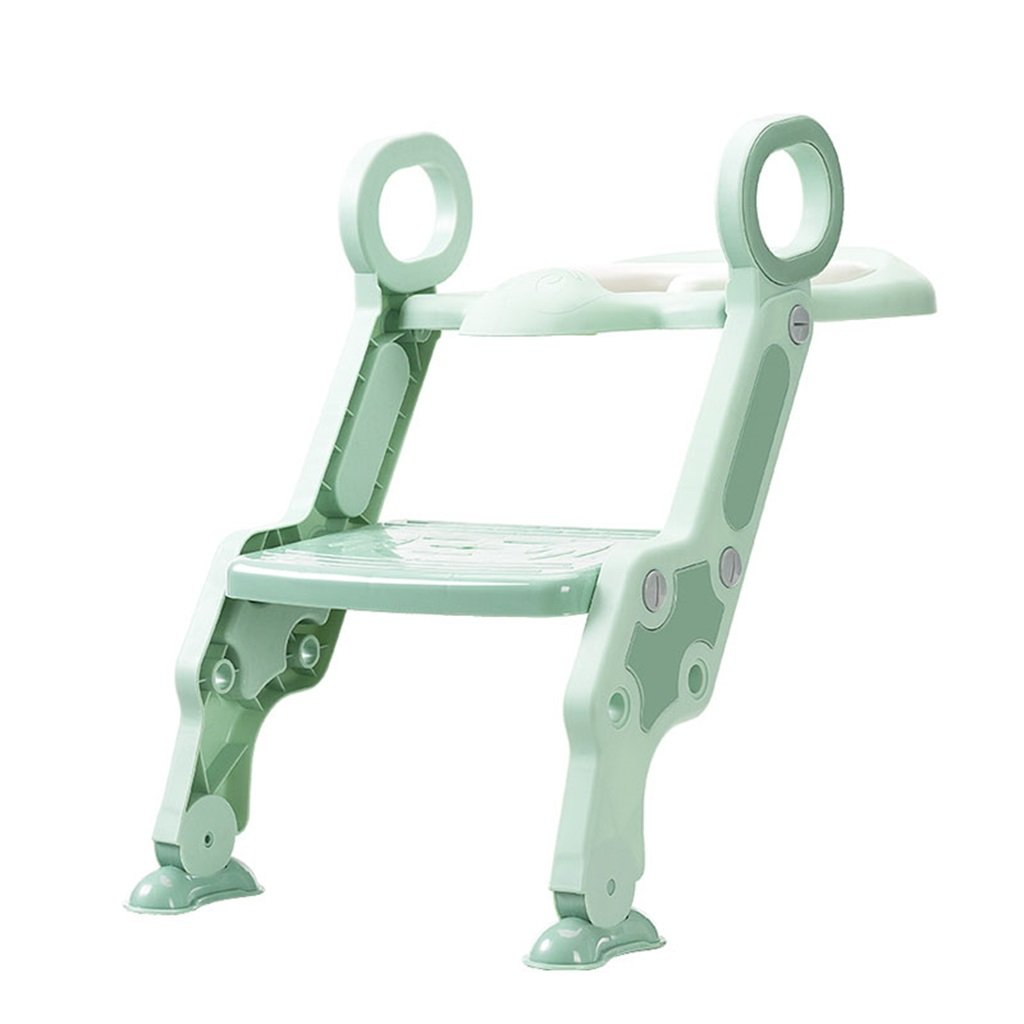 緑の赤ん坊のトイレシート調節可能な高さ安全で快適なトイレはしご男の子の折りたたみ式のシートトイレトレーニングは、耐荷重75kg B07FBFPK73