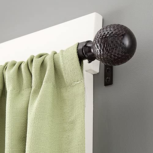 Kenney Woven Ball Weathered Window Curtain Rod, 28 to 48-Inch, Brown
