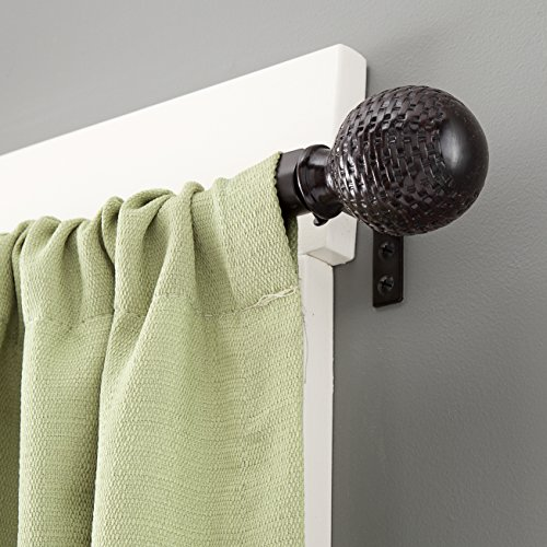 70%OFF Kenney Woven Ball Weathered Window Curtain Rod, 28 to 48-Inch, Brown