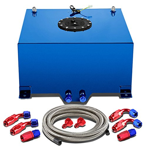 10-Gallon Blue Aluminum Gas Tank w/Level Sender & Black Cap+12 inches Silver Fuel Line+Fittings
