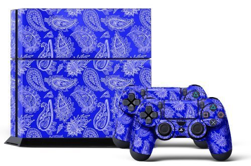 PS4 Console Designer Skin for Sony PlayStation 4 System plus Two(2) Decals for: PS4 Dualshock Controller Paisley Blue