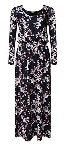 Islander Fashion Damen Langarm Floral bedruckt Toga Maxi Kleid Damen ...