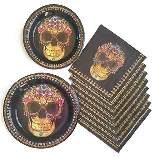 Day of The Dead Dia De Los Muertos Sugar Skull Party Supplies Paper Plate and Napkin Bundle of 3 - Service for 12 -