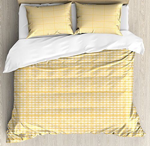 Ambesonne Vintage Yellow Queen Size Duvet Cover Set, Gingham Pattern with Bicolor Checkered Squares with Heart Motifs, Decorative 3 Piece Bedding Set with 2 Pillow Shams, Mustard and White