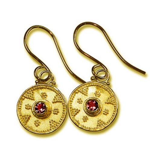 Granulated 22k Gold & Ruby Earrings ()