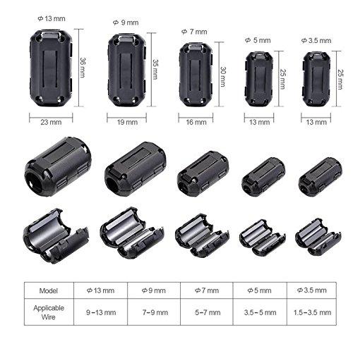 20 Pcs Snap On Ferrite Core Cord Ring Rfi Emi Noise Filter Suppressor Cable Clip