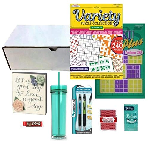 (Get Well Gifts for Women | Injury Post-Surgery or Illness Care Package with Box Sign, 16 oz. BPA-Free Acrylic Tumbler, 2 Full-Size Puzzle Books, Pens, Cards, Tissue & Lip Balm - 9 Items)