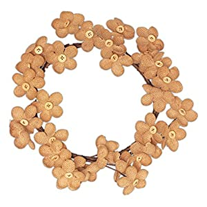 Country House Burlap Daisy with Buttons Primitive Wreath 6