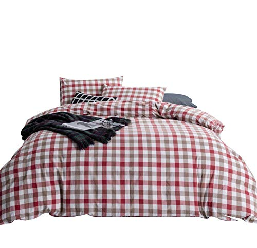 ing King Size Red and Brown Checkered Pattern 3 Piece Washed Cotton Duvet Cover Set with Zipper Ties 1 Plaid Duvet Cover 2 Pillowcases Luxury Quality Soft Breathable Lightweight ()