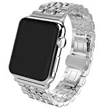 Apple Watch Band, PUGO TOP 38mm Stainless Steel Metal Replacement Band with Butterfly Buckle for Apple Watch Series 3 Series 2 Series 1 Sport and Edition 38mm, Silver