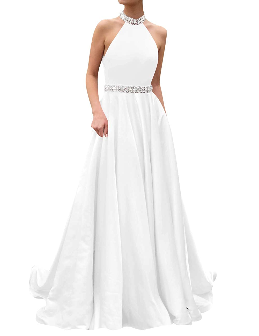 White ASBridal Prom Dresses Long Evening Gowns Halter Beaded Party Prom Gowns Bridesmaid Dress Open Back