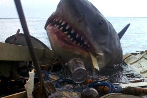 Jaws shark attacking boat 11x17 Mini Poster by Silverscreen