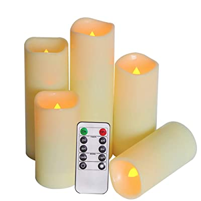 """SWEETIME Outdoor Waterproof Flameless Candles with Timer & Remote - LED Flickering Pillar Plastic Resin Electric Candles Battery Operated Candles, Set of 5 (D 2.2"""" x H 4"""" 4"""" 5"""" 6"""" 7""""): Home Improvement"""