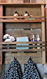 Rundown Rustics 2 Shelf Bathroom Organizer Display Storage Cubby Rack Décor Rustic Reclaimed Recycled Upcycled Pallet Barn Wood Industrial Metal Towel Robe Hooks Wall Mount
