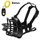 """Dog Muzzle,Soft Basket Muzzles for Dog, Best to Prevent Biting, Chewing and Barking, Allows Drinking and Panting, Used with Collar (Size2 (Snout 7- 8.5""""), Black)"""