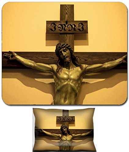Liili Mouse Wrist Rest and Small Mousepad Set, 2pc Wrist Support Jesus cross sculpture on the wall orthodox catholic Photo 8458347 (Catholic Free Pictures)