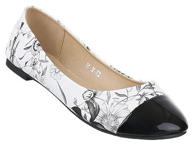 Damen Ballerinas Schuhe Loafers Pumps Schwarz Weiß 37 CXDU97tq3