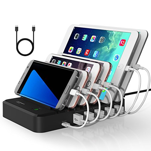 Witeem 40W 6-Port USB Charging Station Hub with USB Type C Port, Universal Charging Docks Organizer Stand for Smartphones, Tablets, Black