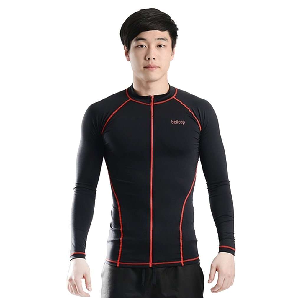 belleap UV Protection Men's Compression Long Sleeve Zip up Track jacket Sportswear Small Black