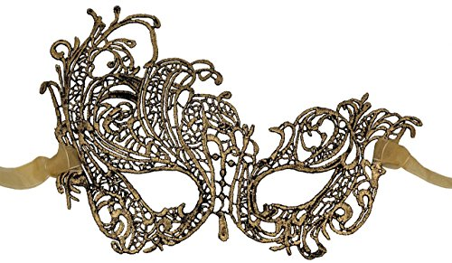 Luxury Mask Women's Stunning All Gold Lace Masquerade Mask Swan ()