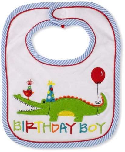 Mud Pie Baby Infant Birthday Boy Alligator Bib, 0-12 - Bib Birthday