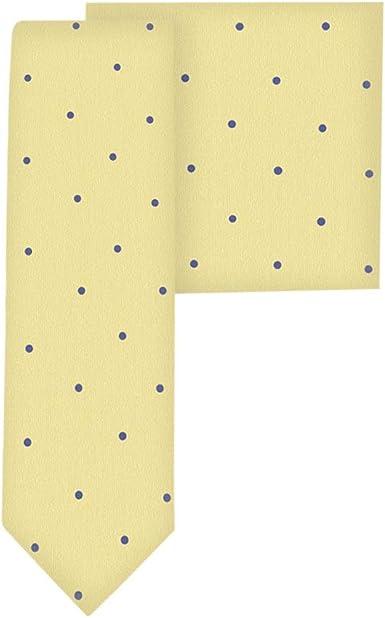 Conjunto corbata estrecha & pañuelo de bolsillo oro con lunares ...